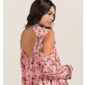 Francesca's Pink Darla High Neck Cold Shoulder Top